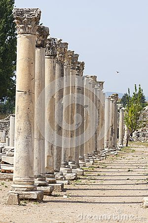 Columns in the ancient greek and later roman city of Ephesus in the actual Turkey
