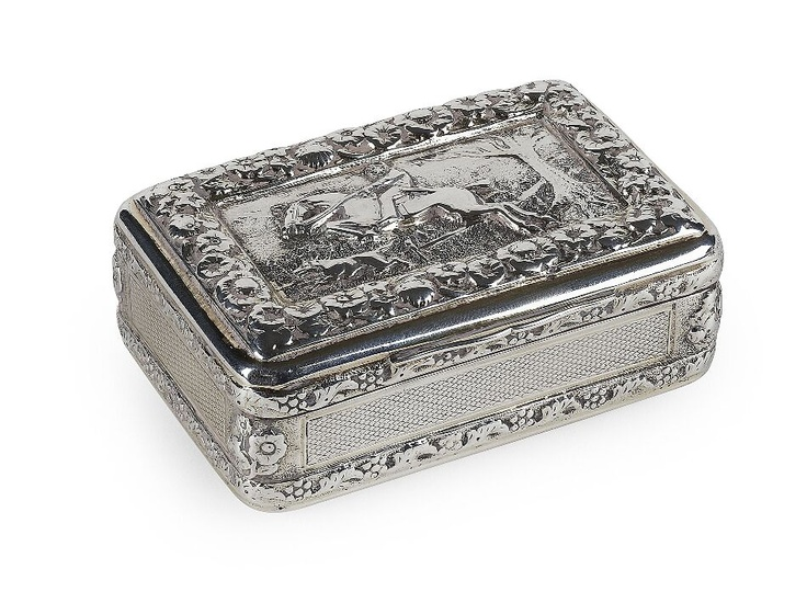 GEORGE III SILVER-GILT HUNTING SCENE SNUFF BOX   TP/RM, LONDON 1817   of rectangular form, with a chased panel of Master of the Hounds, within a foliate border, gilt interior, cast lower border, engine turned detail   68mm wide, 3.5oz   Estimate £250-350  Sold for £650