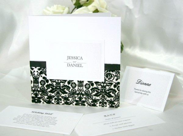 Modern Love Black and White Wedding Invitations