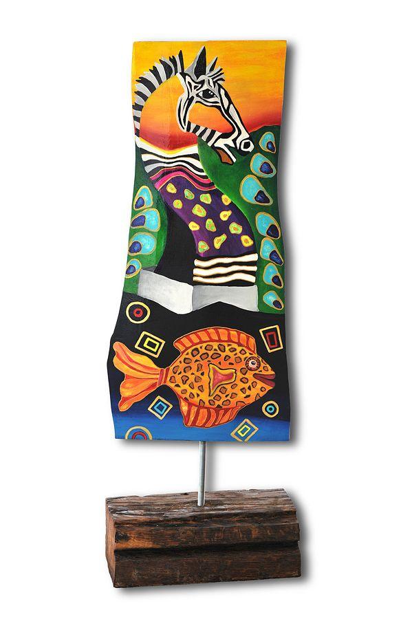 Bemalte Kirschbaumplatte Acryl auf Holz von Jeanett Rotter