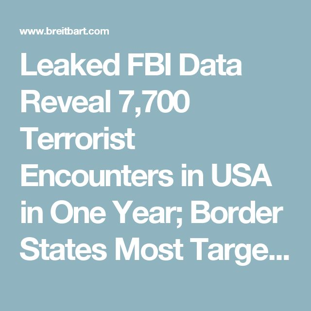 Leaked FBI Data Reveal 7,700 Terrorist Encounters in USA in One Year; Border States Most Targeted