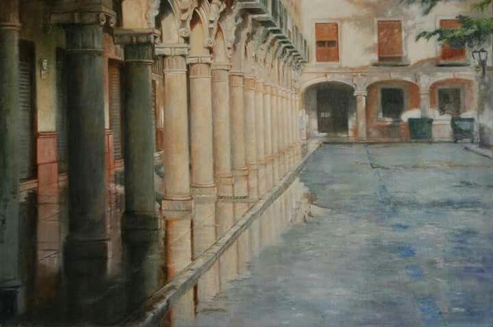 """""""Plaza de las Palomas"""" 81x 54, óleo sobre lino. Obra de Piedad Lozano"""