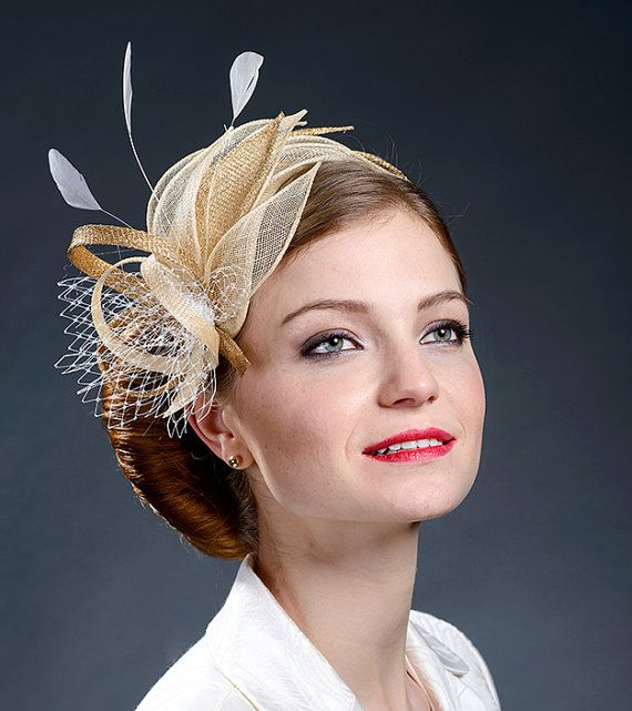 Beige, champagne gold and gold fascinator hat for weddings, Ascot, Derby, parties - New design for 2015 spring and summer