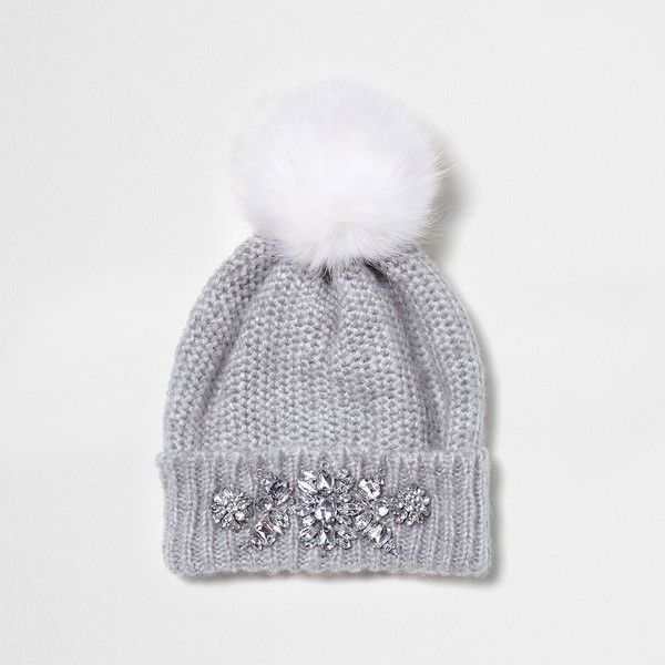 River Island Grey jewel embellished faux fur bobble hat ($36) ❤ liked on Polyvore featuring accessories, hats, grey, women, embellished hat, pompom hat, grey hat, grey pom pom hat and faux fur hat