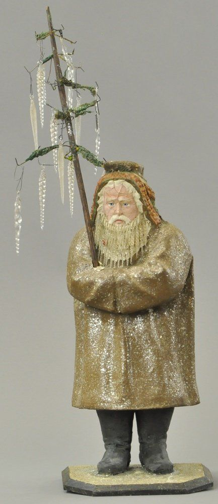 Large German Santa Claus candy container with glass beard.