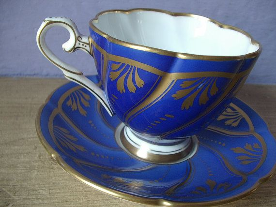 Lovely vintage blue and gold bone china Royal Stafford English tea cup set,