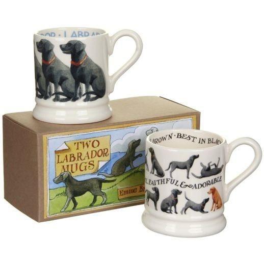 Emma Bridgewater Half Pint Mug - Two Boxed - Black Labradors - 2015 Design