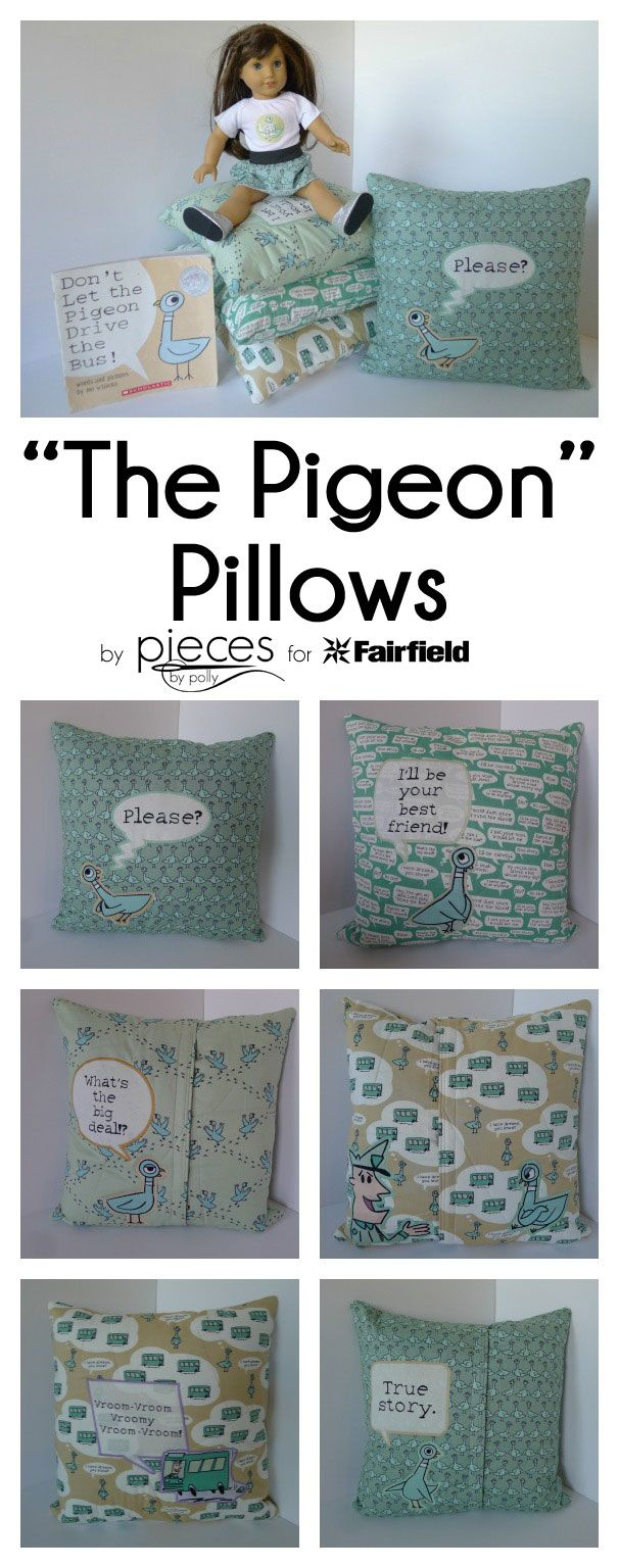 The Pigeon Pillows...perfect reading pillows for a classroom library or at home. Mo Willems Pigeon books rock.