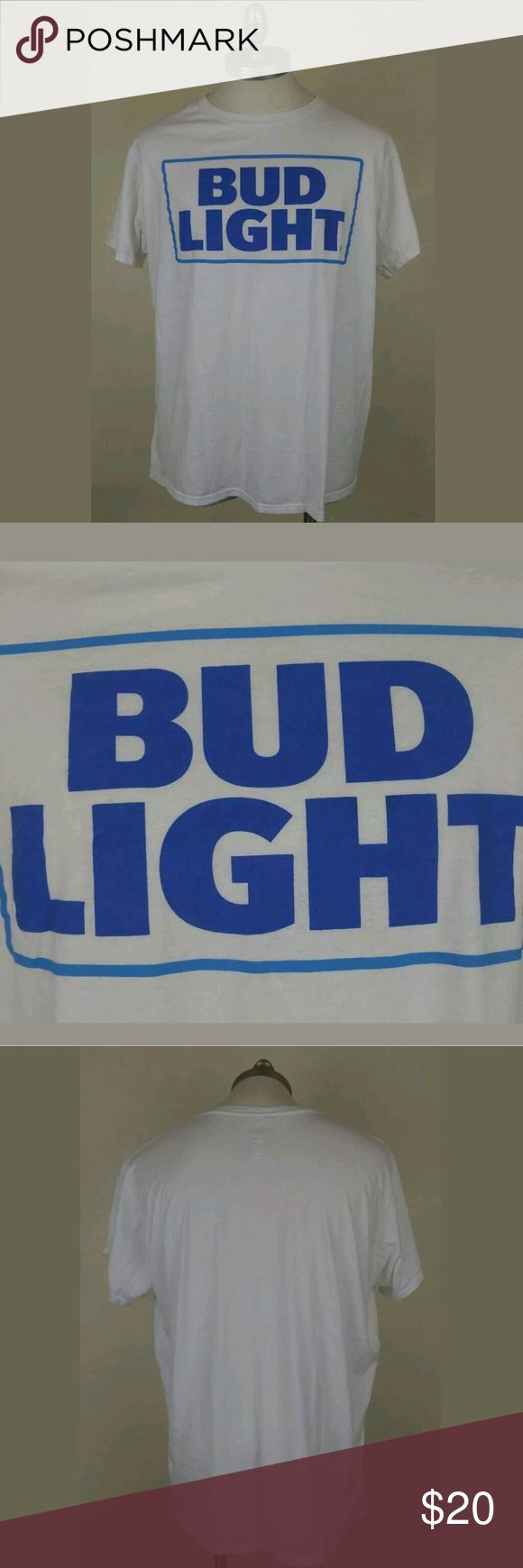 """Bud Light Beer Mens Wht Graphic Crewneck Shirt XL Bud Light Beer Blue White Mens Crewneck White Short Sleeve Graphic T Shirt XL. T Shirt is pre owned. No rips or stains. Item comes from smoke free home.? Underarm to underarm: 24"""" (on flat surface)? Lenght of shirt: 29"""" Hanes Shirts Tees - Short Sleeve"""