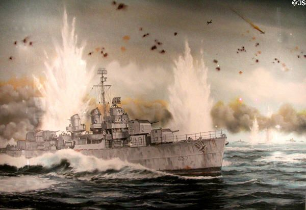 USS Johnston under fire at Battle off Samar painting by Pierre de Wispelaere at National Museum of the Pacific War. Fredericksburg, TX.