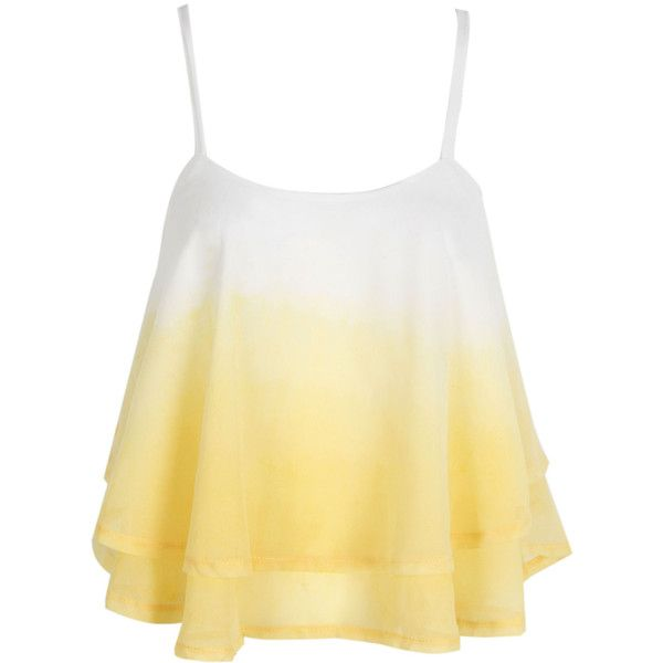 Yellow Cross Back Layered Ruffle Faded Cami Top ($18) ❤ liked on Polyvore featuring tops, chiffon tank top, chiffon tops, layering cami, beige tank top and camisole tank tops