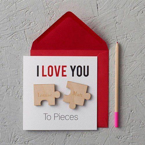 tarjeta de San Valentín original con piezas de puzle