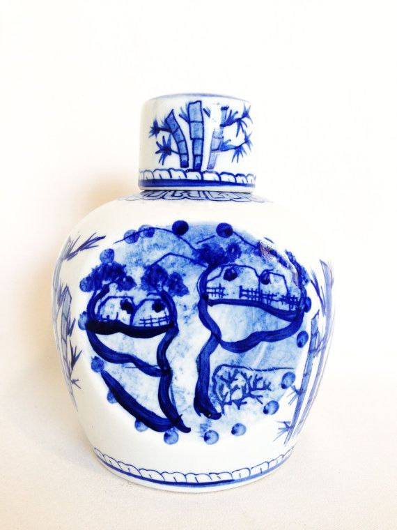 vintage ginger jar blue and white bamboo