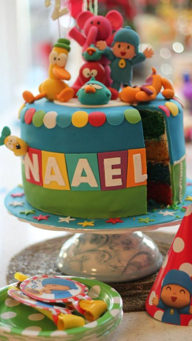 Pocoyo birthday cake with handmade figurines