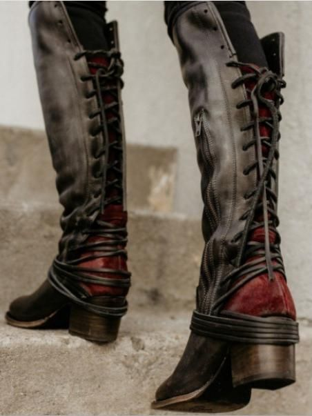 d4449be50786 Chunky Tassels Bandage Knee High Boots in 2019