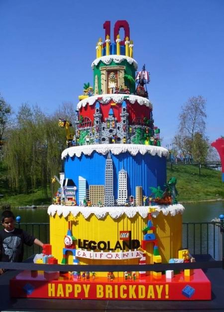 birthday cake made out of Lego for Legoland California's 10th birthday.