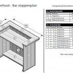 Bouwtekening met onderdelenlijst om zelf een bar te bouwen van steigerhout.