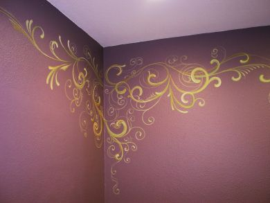 This is the Turtle Rock Preschool office bathroom.   The male director painted the room a plum color and asked me to do some swirly-girly decoration on the walls because he works with 40 women.  He…