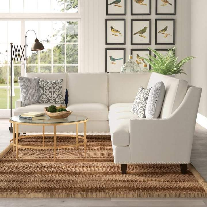 Birch Lane Heritage Larson Sectional Sectional Modern White Living Room Sectional Sofa Couch #white #living #room #sectional