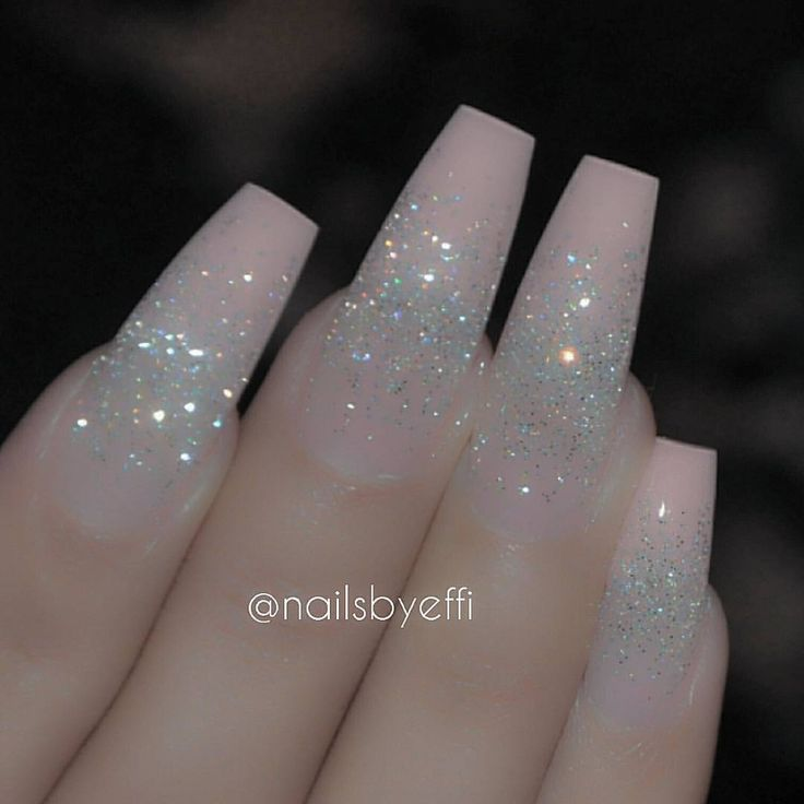 Oh yess. Pink glitter coffin nails | Nails | Pinterest