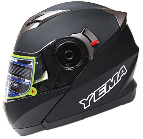 Motorcycle Modular Full Face Helmet DOT Approved - YEMA YM-925 Motorbike Moped Street Bike Racing Crash Helmet with Sun Visor for Adult, Men and Women - Matte Black, Large. For product info go to:  https://www.caraccessoriesonlinemarket.com/motorcycle-modular-full-face-helmet-dot-approved-yema-ym-925-motorbike-moped-street-bike-racing-crash-helmet-with-sun-visor-for-adult-men-and-women-matte-black-large/