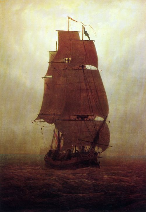 "tierradentro: ""Sailing Ship"", c.1815, Caspar David Friedrich."