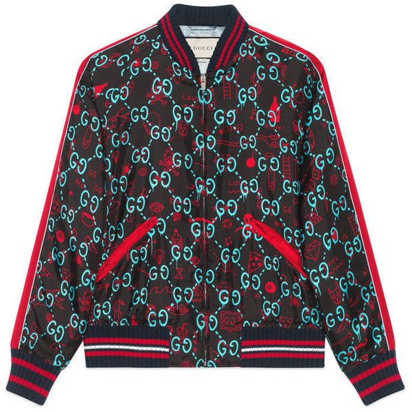 Gucci Guccighost Bomber (£1,470) ❤ liked on Polyvore featuring men's fashion, men's clothing, men's outerwear, men's jackets, men, outerwear, ready to wear, mens blue jacket, mens jackets and mens blouson jacket