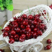 20 STÜCKE Mini Gefälschte Glatte Glas Granatapfel Obst Kleinen Beeren Künstliche Blumen rote kirsche Staubblatt Hochzeit Weihnachten Dekorative(China (Mainland))