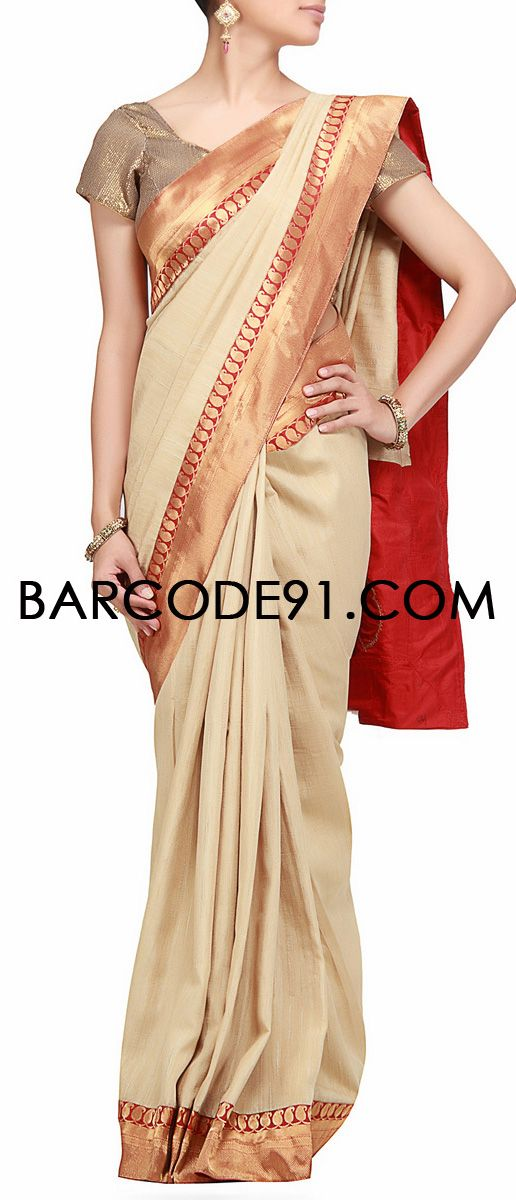 buy it now http://www.barcode91.com/saree-in-upada-silk-with-banarasi-border-embellished-with-embroidery-by-b91-exclusive.html