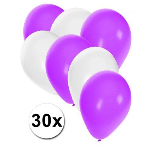 Witte en paarse ballonnen 30 stuks  30 stuks ballonnen in de kleuren wit en paars. Van elke kleur 15 ballonnen leuk voor verjaardagen en themafeesten. Formaat is ongeveer 27 cm. Goede kwaliteit.  Dit artikel bestaat uit: 1x Witte ballonnen 15 stuks 1x Paarse ballonnen 15 stuks  EUR 2.99  Meer informatie