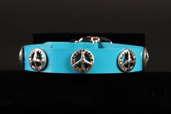 Turquoise Leather Dog Collar with Peace by JustForBella on Etsy, $49.00