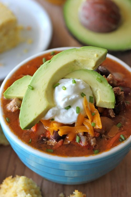 Super Bowl Turkey Chili - Such a cozy and comforting bowl of chili perfect for game day!