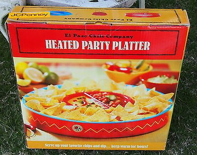 Southwestern Mexican Pattern Warming Heated Party Tray El-Paso Chile Dish Bowl