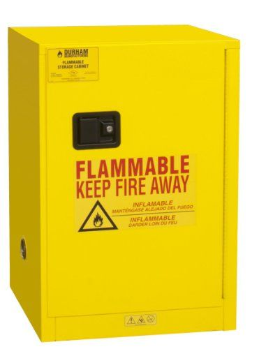 Durham Flammable safety cabinets are made of sturdy all welded 16 gauge double wall steel. 2-inches wide louvers support shelves, adjustable on 4-inches centers. 2-inches Deep leak proof base. Safely contains hazardous chemicals reducing the risk of fire. Improved security with recessed lockable...