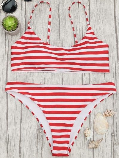 a24929910a Padded Striped Bralette Bikini Top And Bottoms - Red And White ...