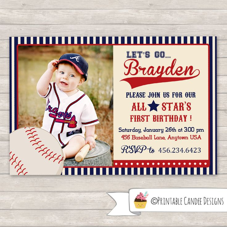 65 best First Birthday images – Baseball First Birthday Invitations