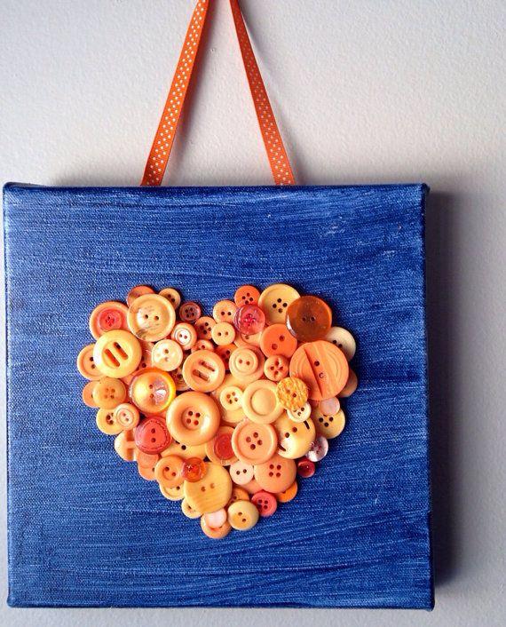 Handmade button mosaic heart mounted on 8x8 canvas.  Only at MosaicTreasureBox, $22.00