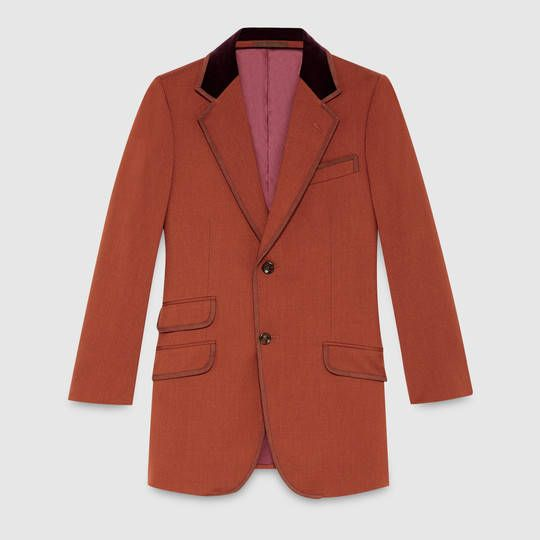 Gucci 70s stretch twill jacket with velvet collar