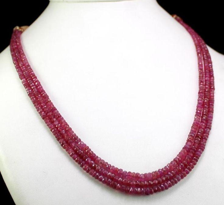 3 Strands Premium Quality Pink Ruby 230ct Faceted Beads 3-4mm Gemstone Necklace(kgr230ct),for further details,visit us at www.krishnagemsnj...