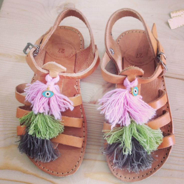 Handmade leather sandals. Feel the love by Rena Xenou