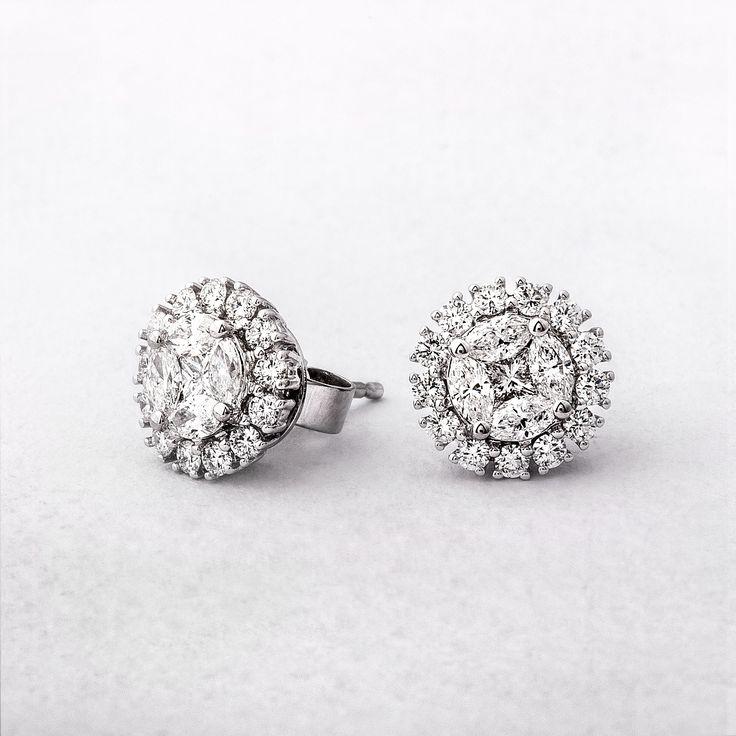 1.31ct Multi Stone Diamond Halo Stud Earrings
