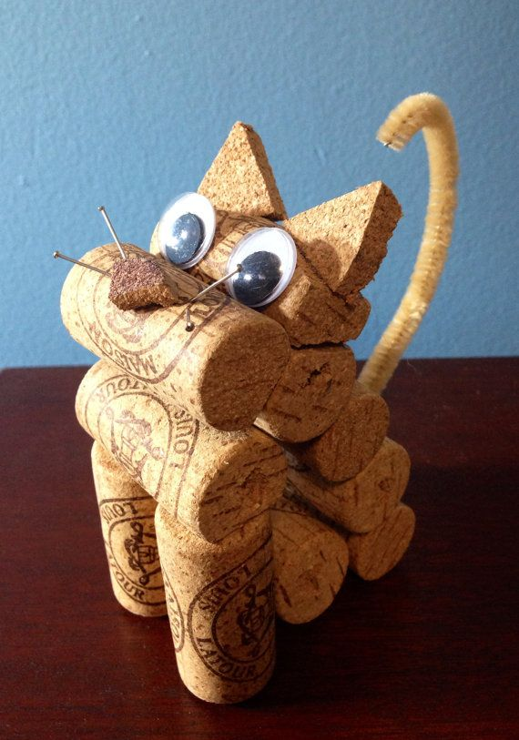 cat figurine made from recycled corks by CorkCreationsbyK