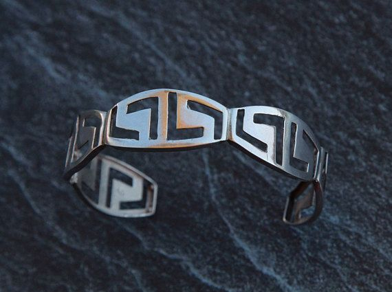 Silver cuff bracelet Greek key bracelet Womens cuff bracelet