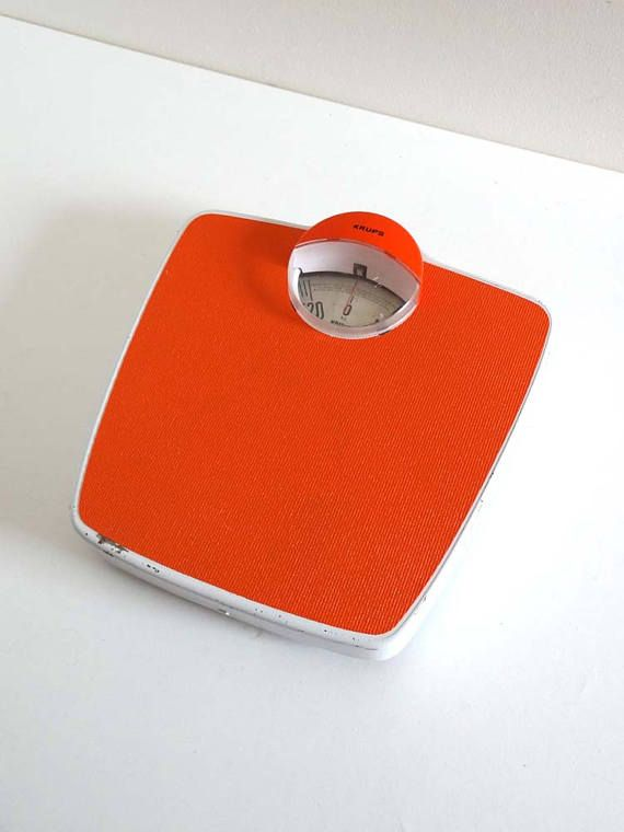 Retro 70s Orange Bathroom Scale Made In Germany Vintage Weighting Scales