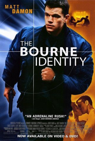The Bourne Identity 2002. Matt Damon. Pure adrenalin. Original movie poster. Spy thriller.  http://scottgronmark.blogspot.co.uk/2016/03/my-alternative-to-american-film.html