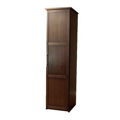 Eifel single door wardrobe shown in walnut, available at lowes.ca!