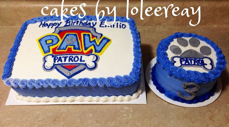 pictures of paw patrol birthday cakes with buttercream 2 layers   PAW PATROL Cake with Matching Smash cake   PAW PATROL Cake m ...