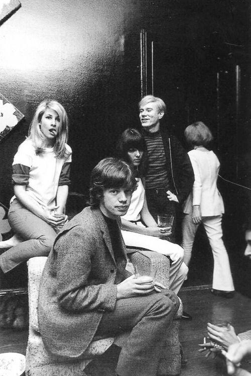 """pinkfled: """" Mick Jagger, Andy Warhol and Jane Holzer - 1965 """""""