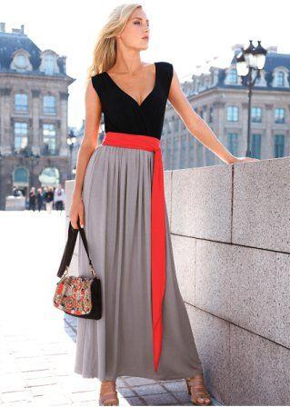Vestido de malha longo tres cores