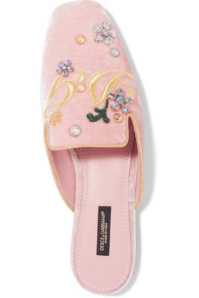 Dolce & Gabbana - Embellished Embroidered Velvet Slippers - Antique rose